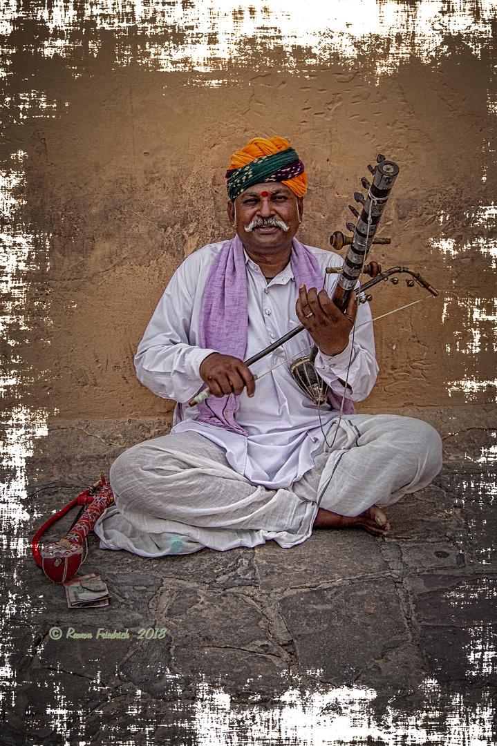 Musikant, Amber Fort Jaipur, Indien