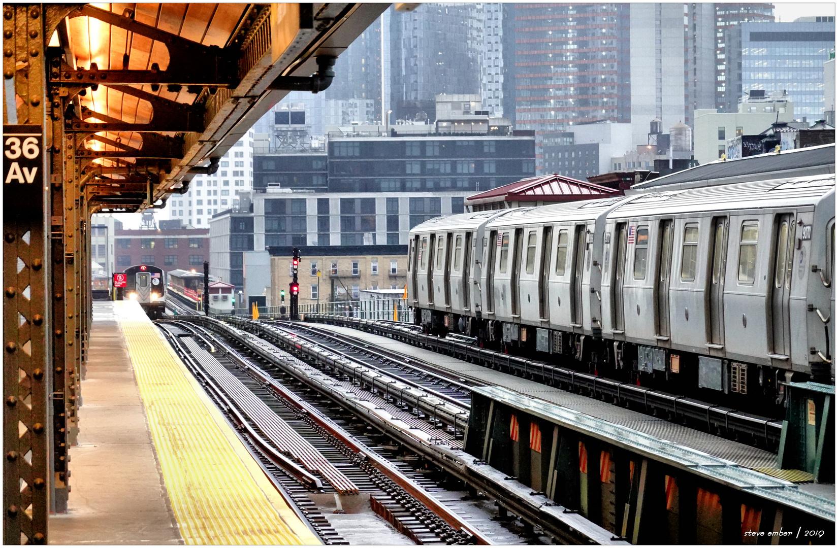 N Trains in the Rain