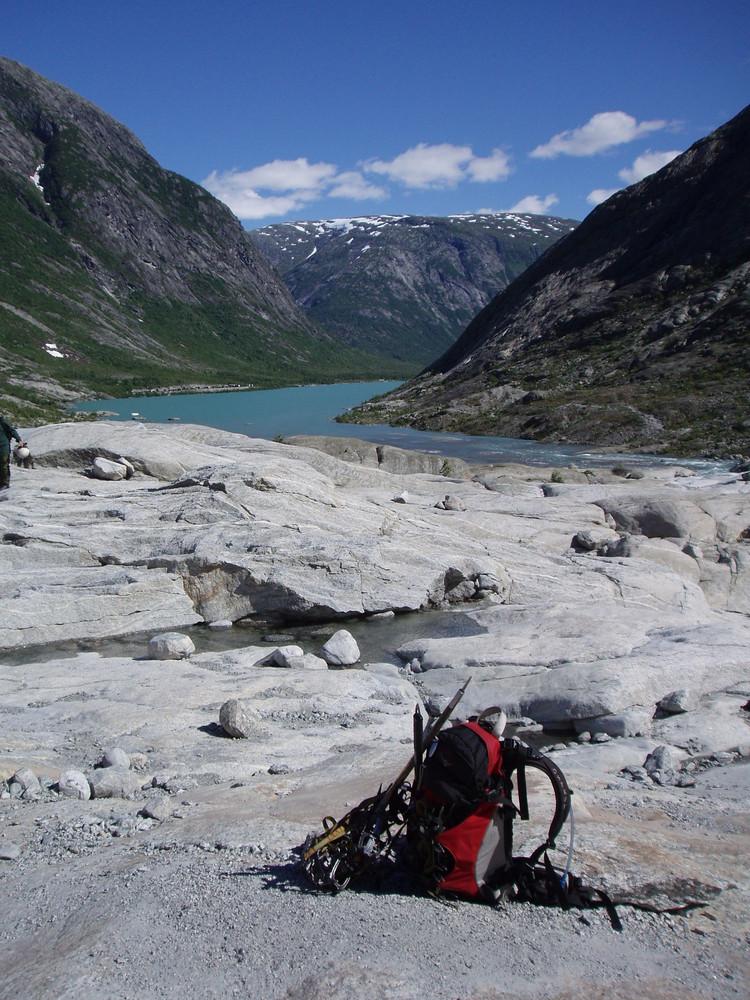 Nach der Kletterpartie am Gletschersee