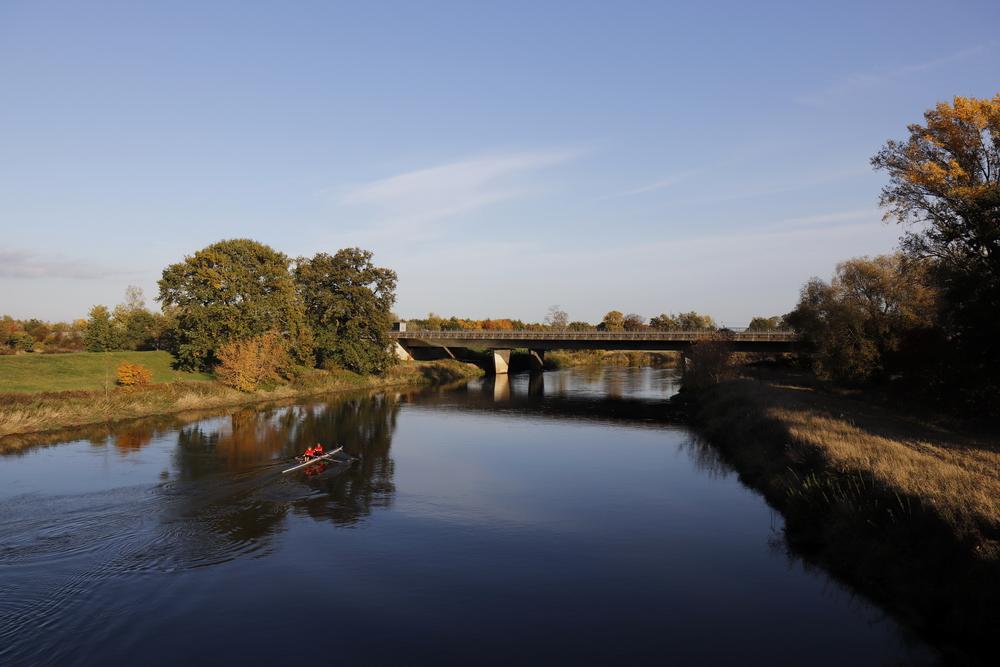 Nachmittagsstimmung in der Muldeaue: Blick zur Autobahnbrücke