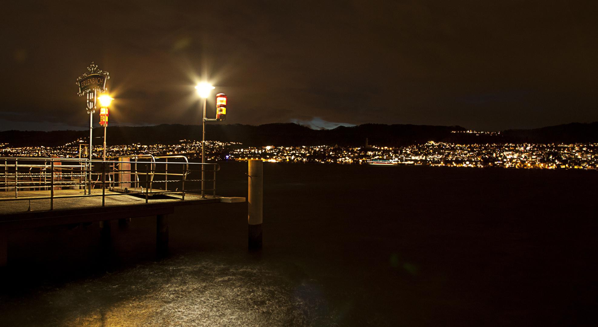 Nachtaufnahme vom Zürichsee