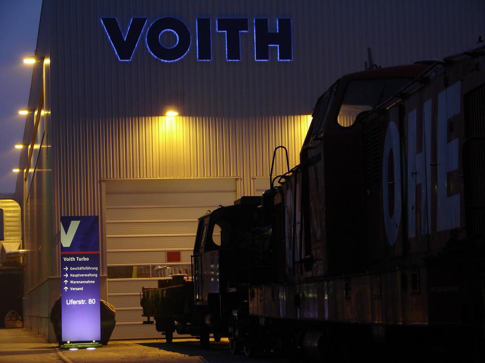 Nachtruhe im Werk, Voith, in Kiel, DG 2000, der OHE.