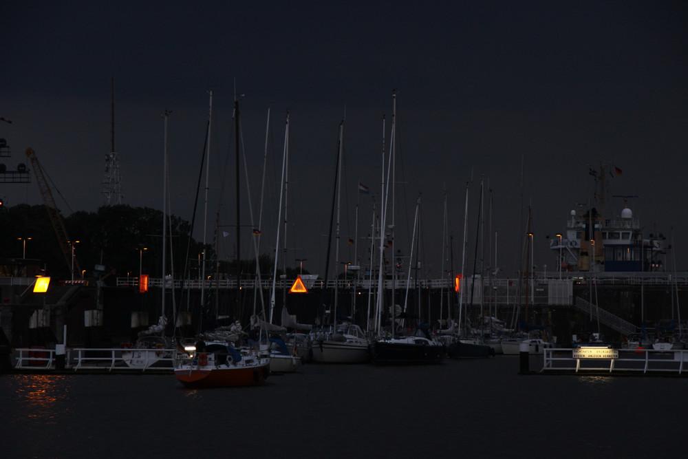 Nachts an der Schleuse, Nord-Ostseekanal, Brunsbüttel