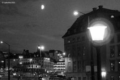 Nachts an der Skeppsbronn Stockholm