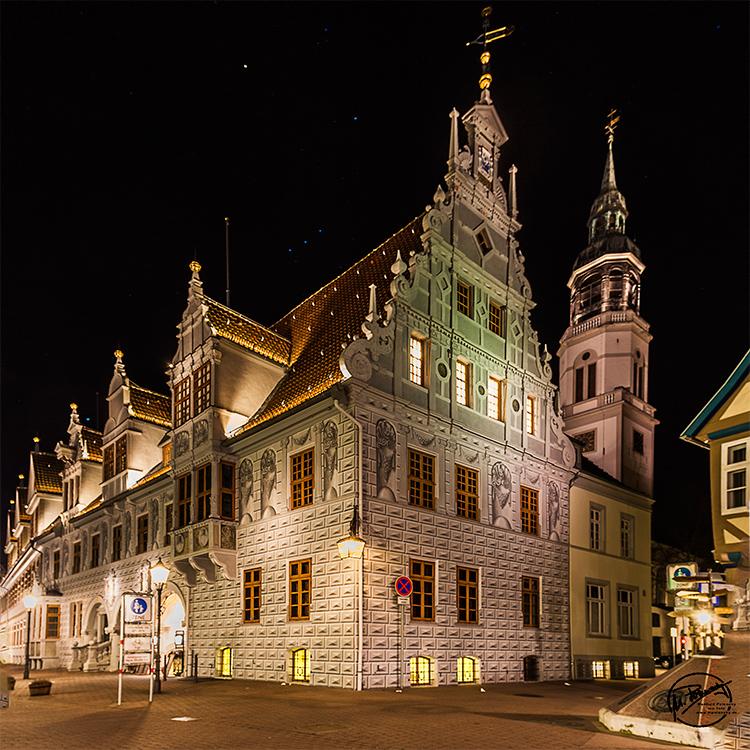 Nachts in Celle (mit Jakobsstab im Orion)