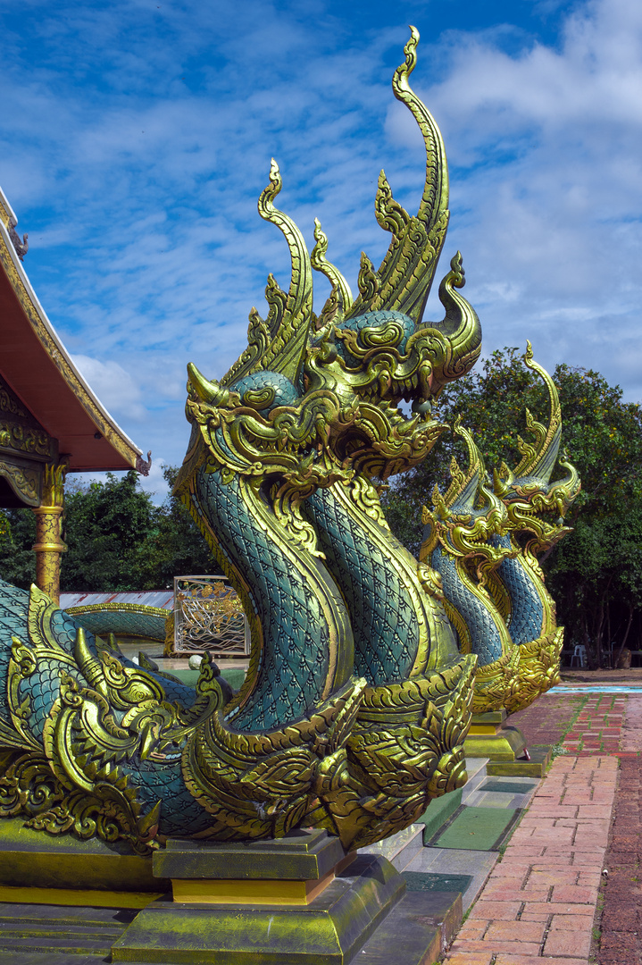 Naga snake heads at the temple entrance