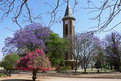 Namibia - Blütenpracht vor der Kirche von Otjiwarongo