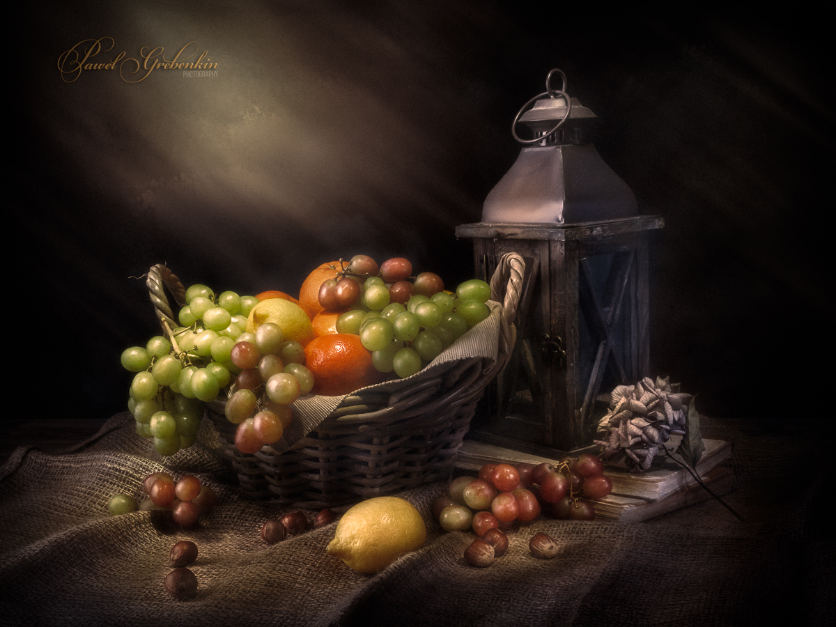 Nature morte with fruits and lantern