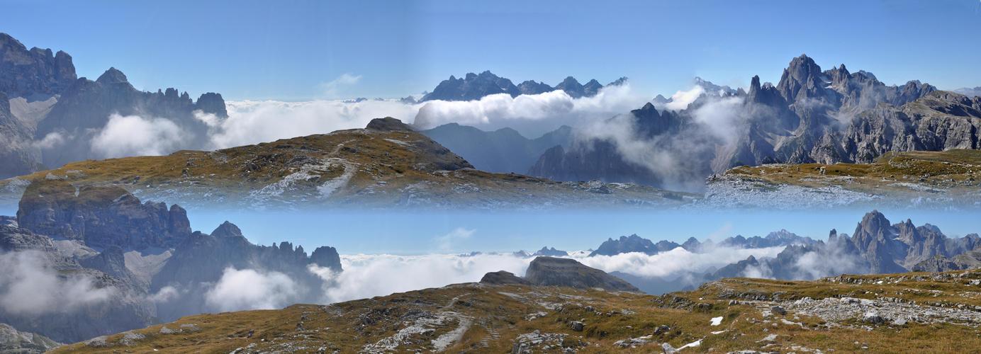Nebel zieht aus dem Tal /in den Dolomiten