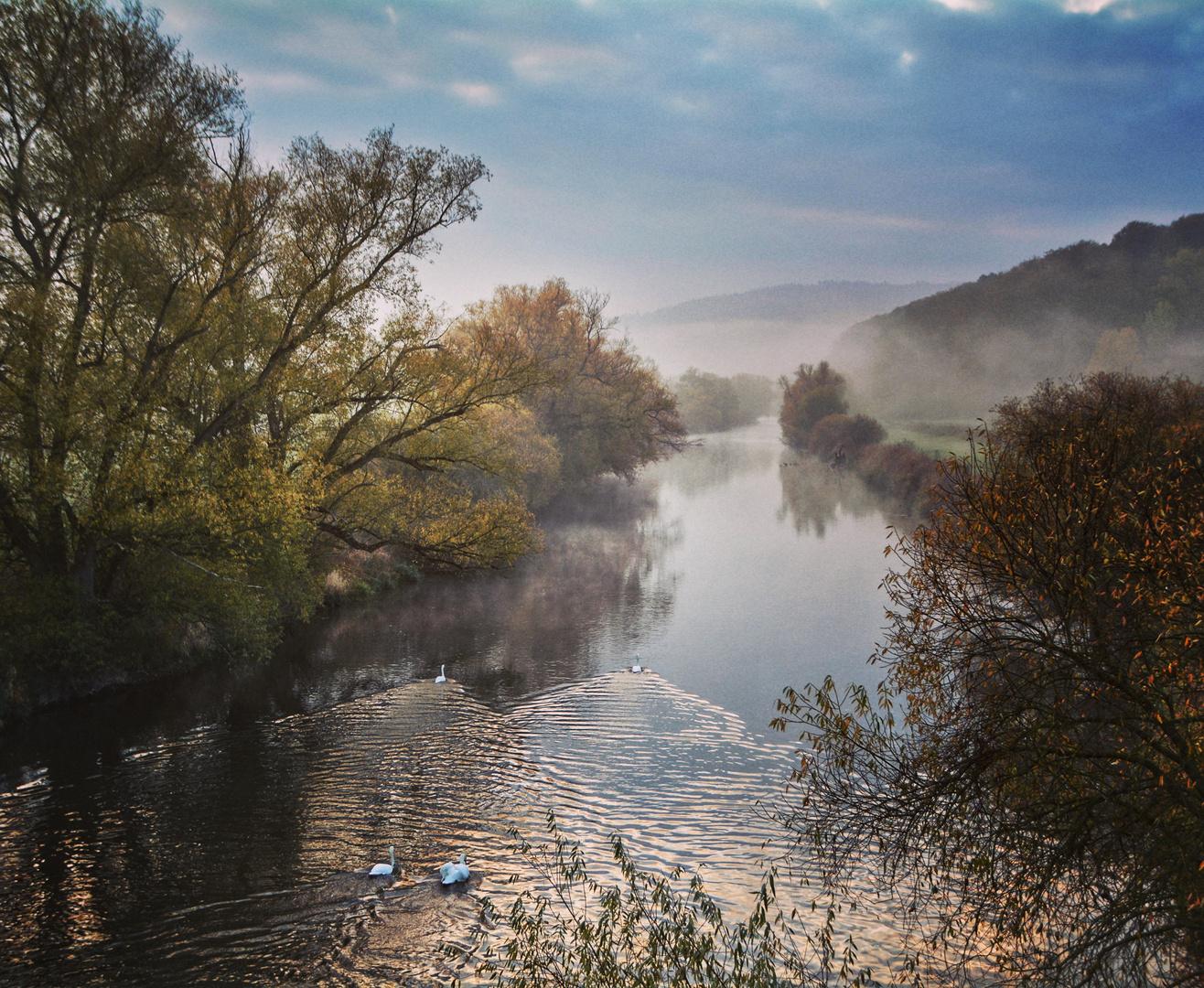 Nebelmorgen an der Fulda