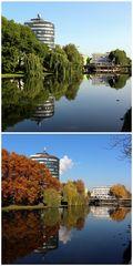 Neckarturm im Sommer und Herbst