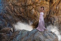 Nelida on the rocks