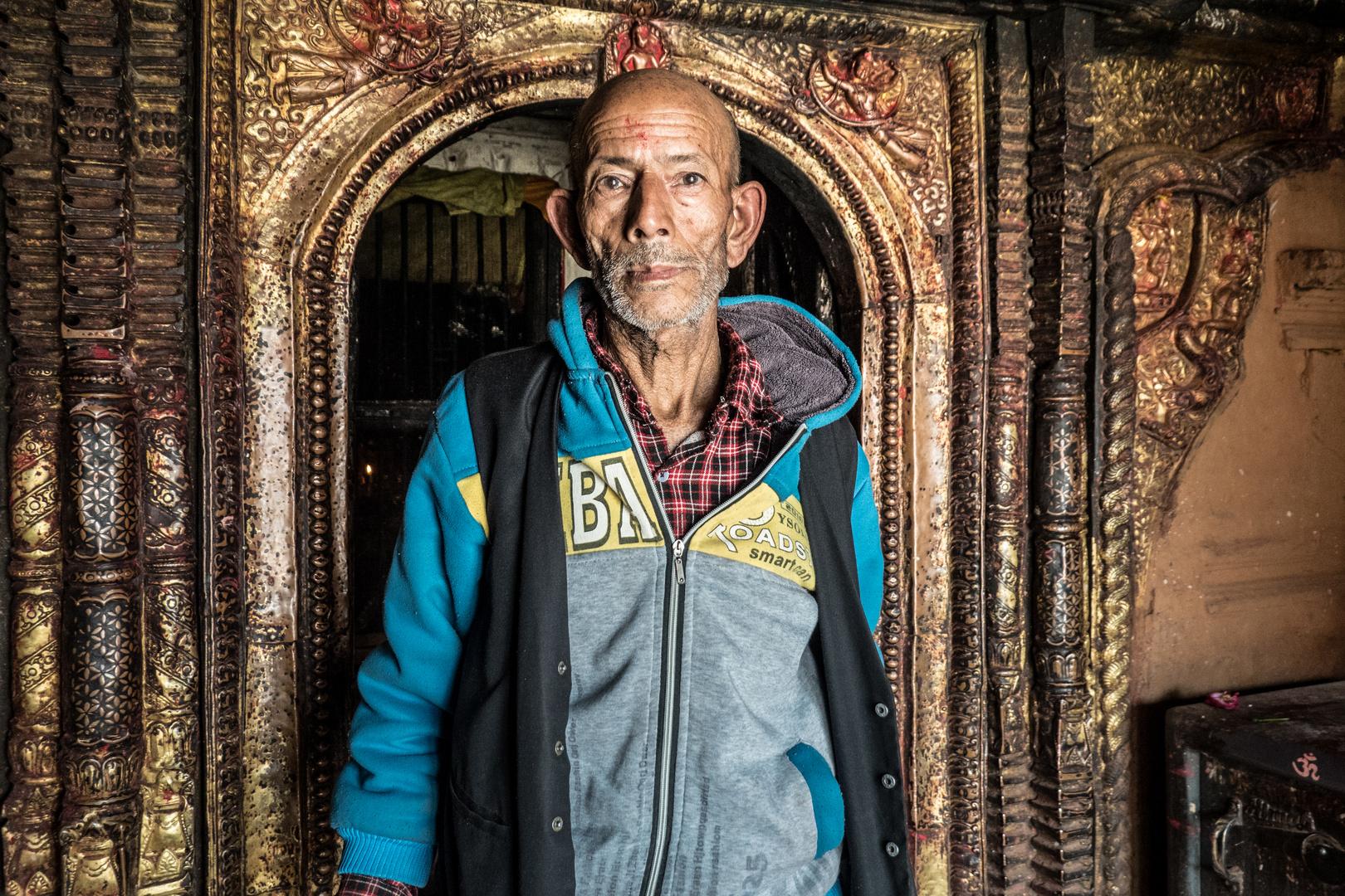 Nepal 2019: Tempelwächter am Dattatraya Tempel, Bhaktapur