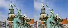 Neptunbrunnen und Marienkirche Berlin (3D)