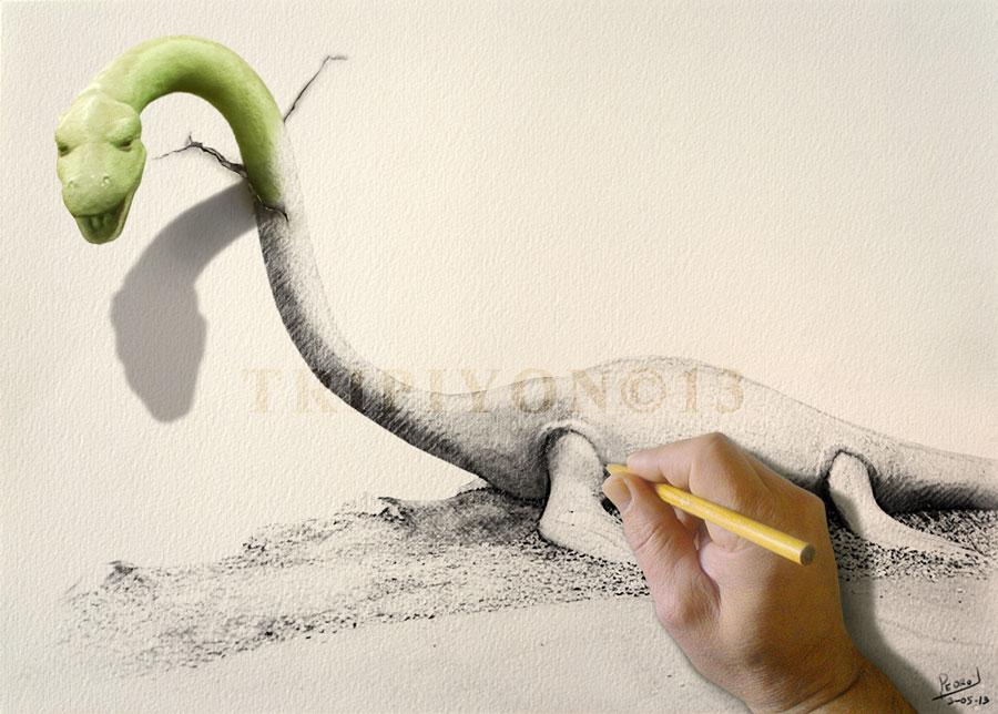 Nessie saliendo del lienzo
