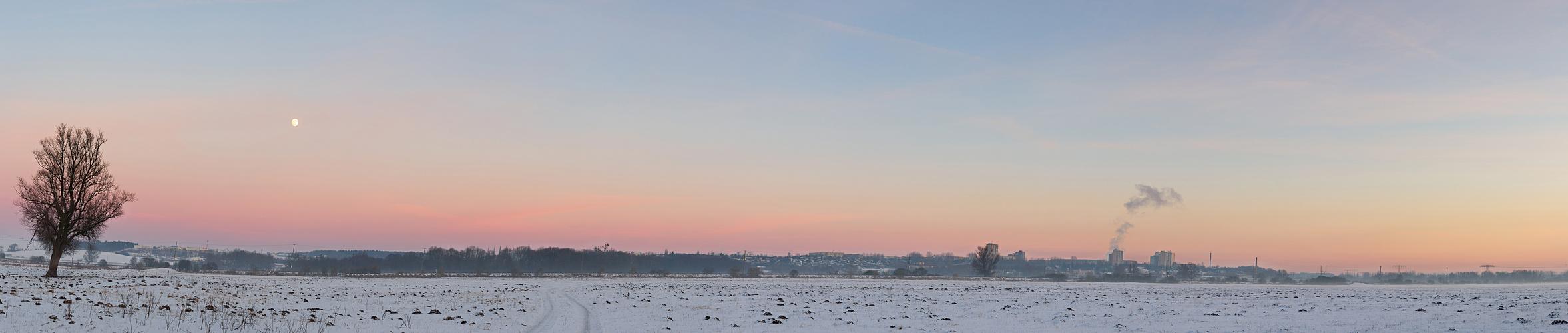 Neubrandenburg im Sonnenuntergang