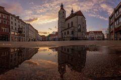 Neupfarrplatz Regensburg im Sonnenuntergang