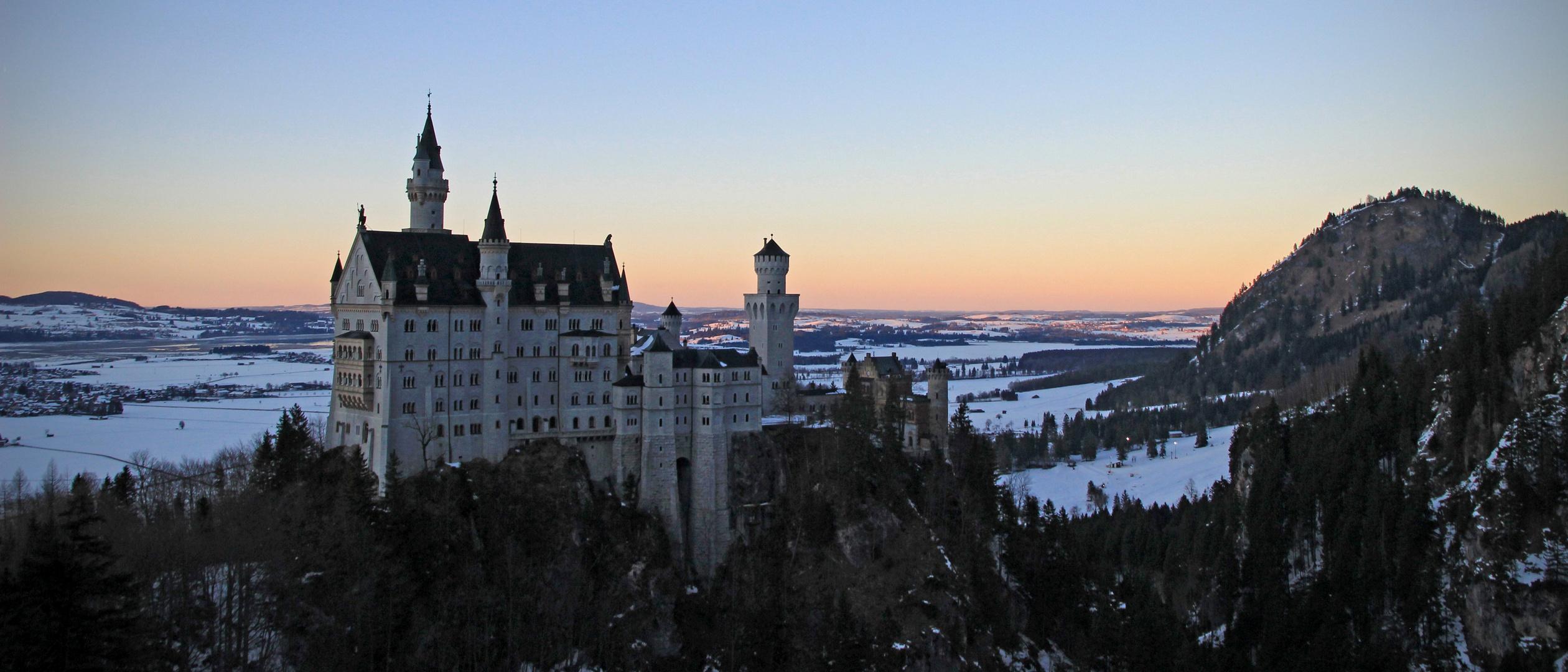 Neuschwanstein Castle, Schloss Neuschwanstein, sunset, Abend, Sonnenuntergang