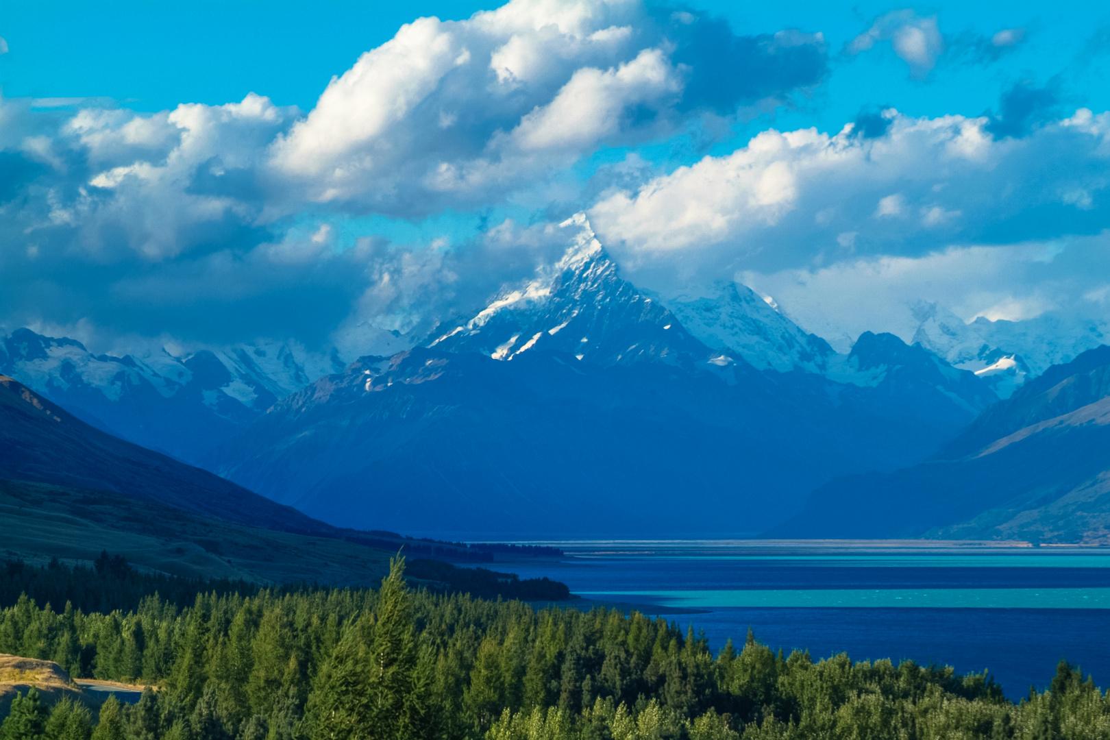 Neuseeland 2006: Südinsel, Der Mount Cook mit Lake Pukaki