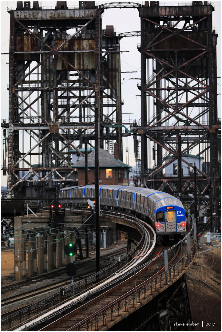 Newark-bound PATH Train Climbs Ramp to Dock Bridge (F11 for best detail)