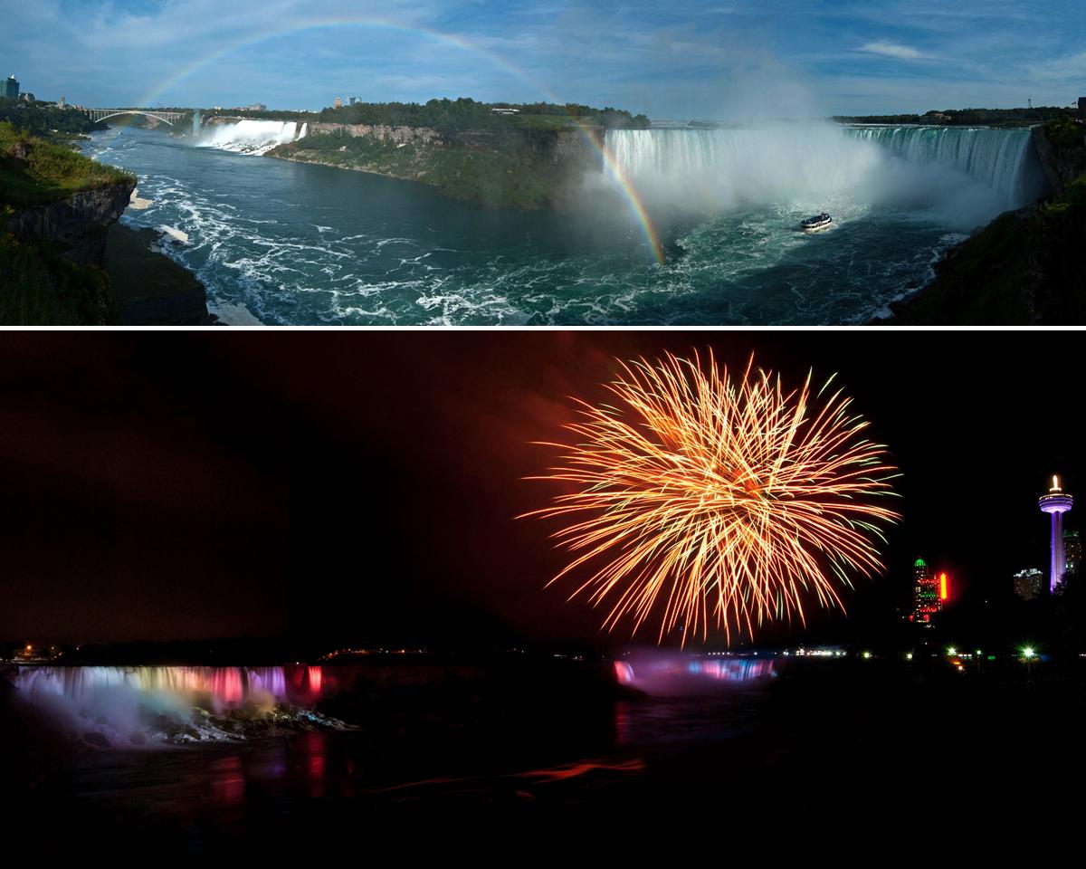 Niagara Falls: day and night