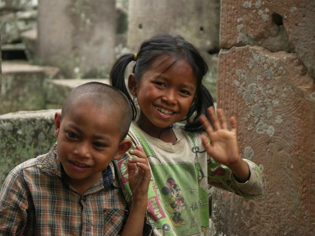 Nice children in a temple