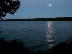 Nicht sehr häufig zu beobachten – Mondlicht im See