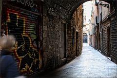 Nichts los in den Gassen der Altstadt von Barcelona