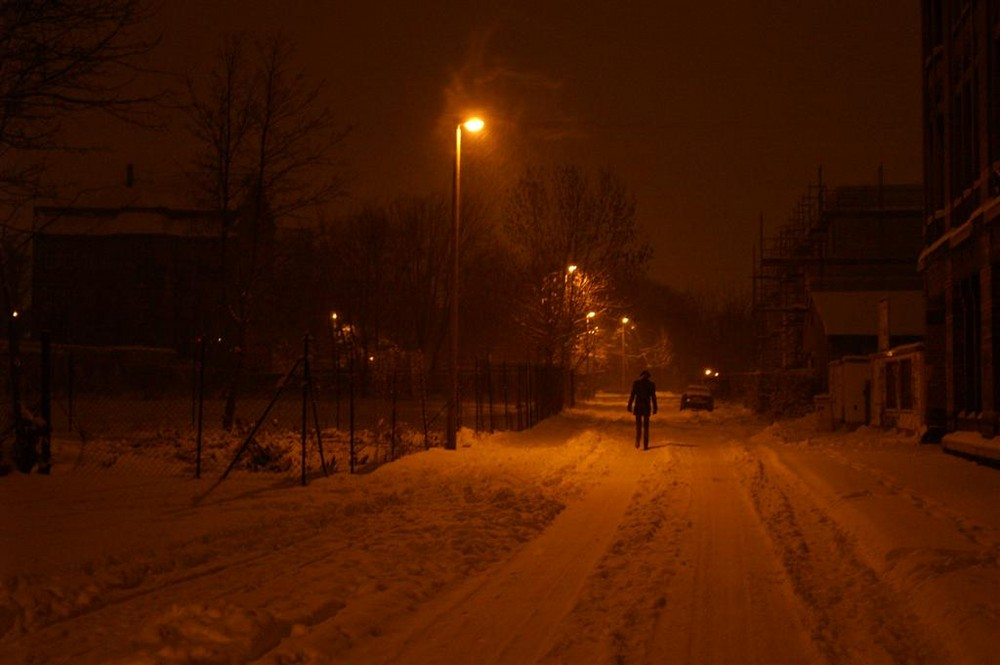 Night covered in snow