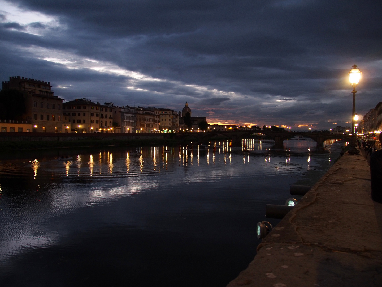 Night Falls Over The Arno River.
