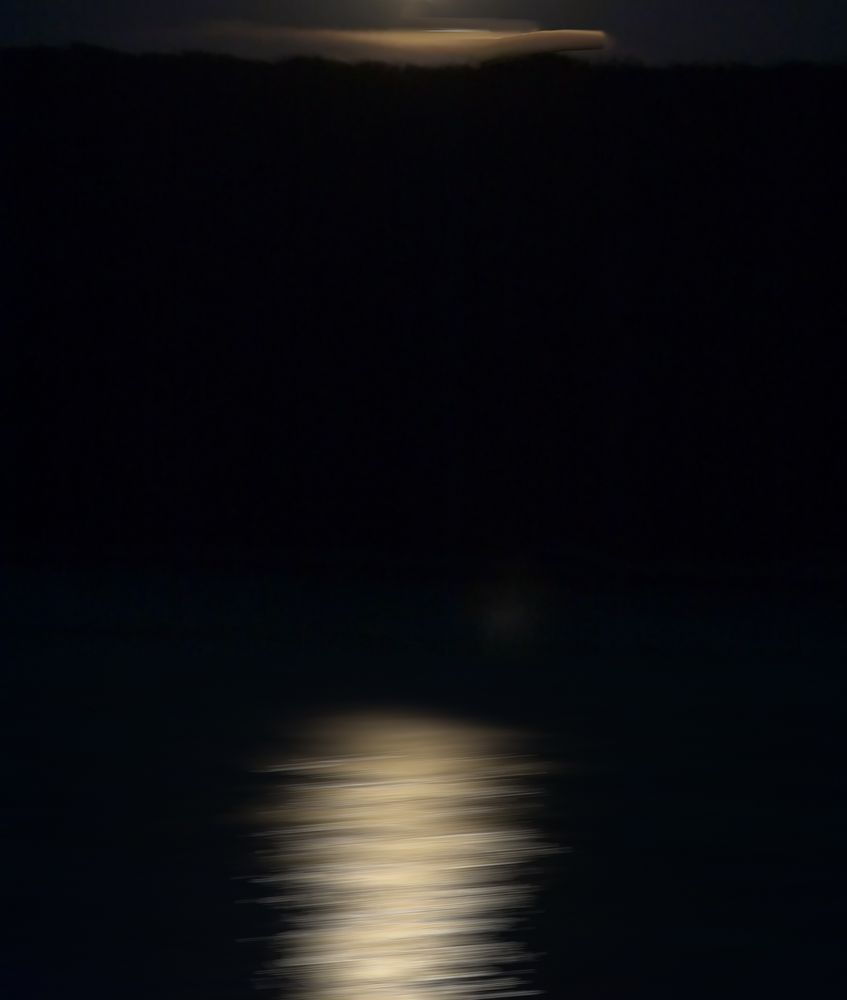 night moon moving over the sea