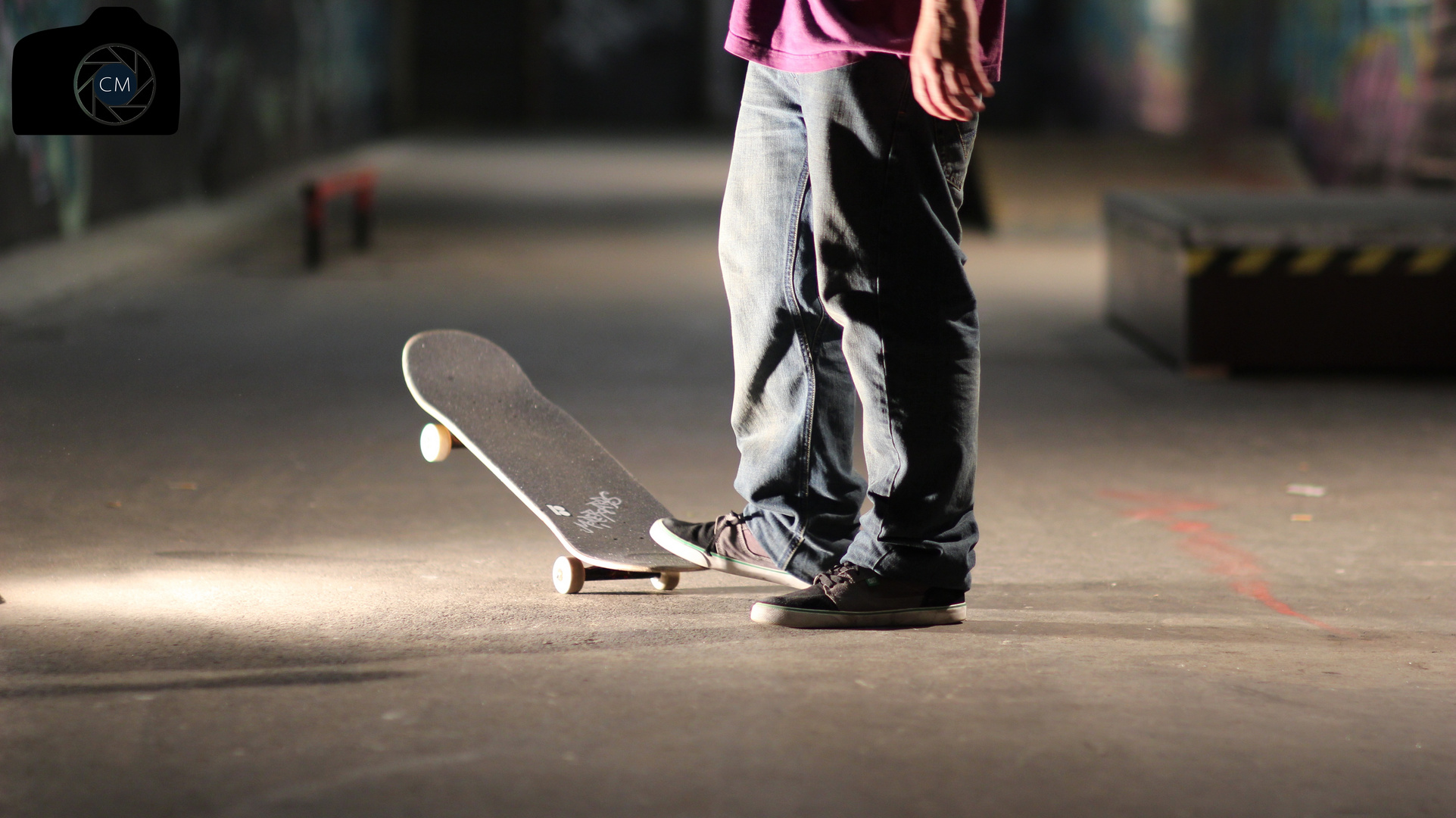 Night skateboarding