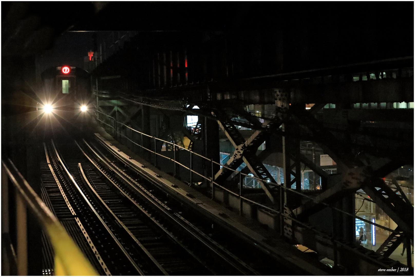 Night Trains No.7 – Manhattan-bound 7 Train enters Queensboro Plaza