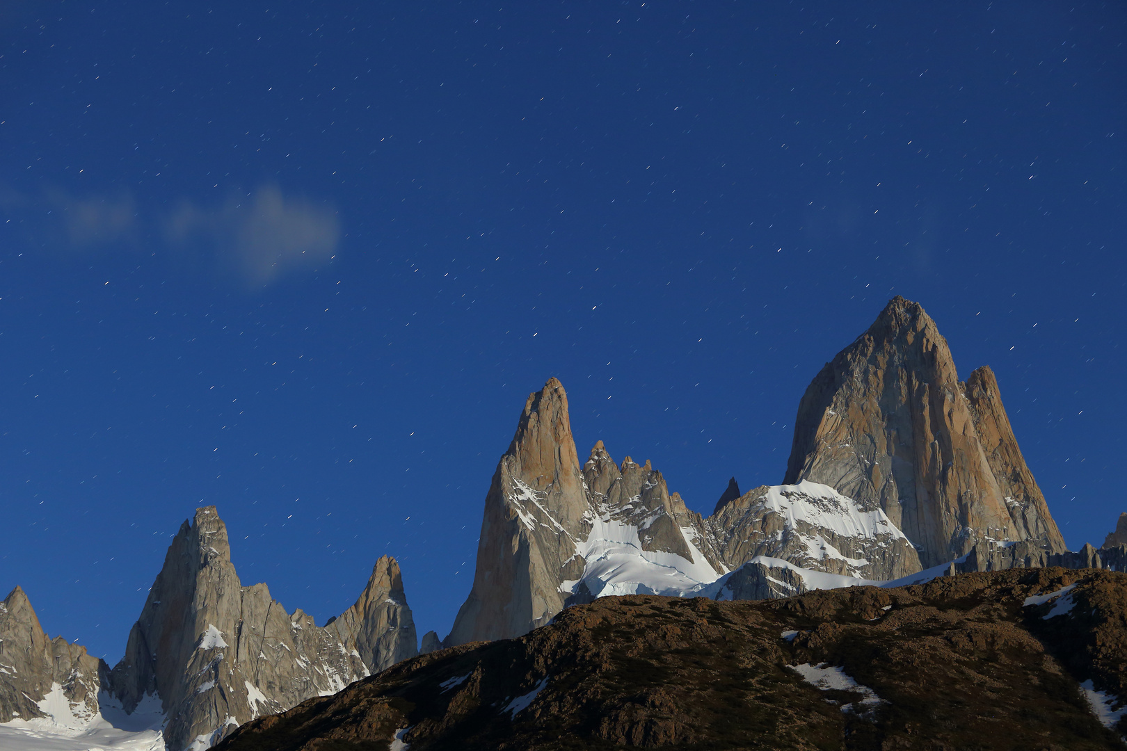 night view on Fitz Roy with stars and moonlight, El Chaltén - Patagonia - Argentina