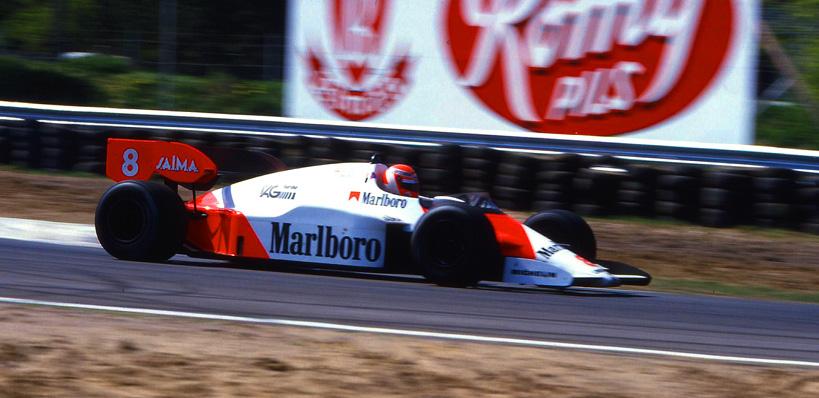 Niki Lauda Österreich im McLaren TAG Turbo Porsche a.d. Gegengerade in ZOLDER/B.