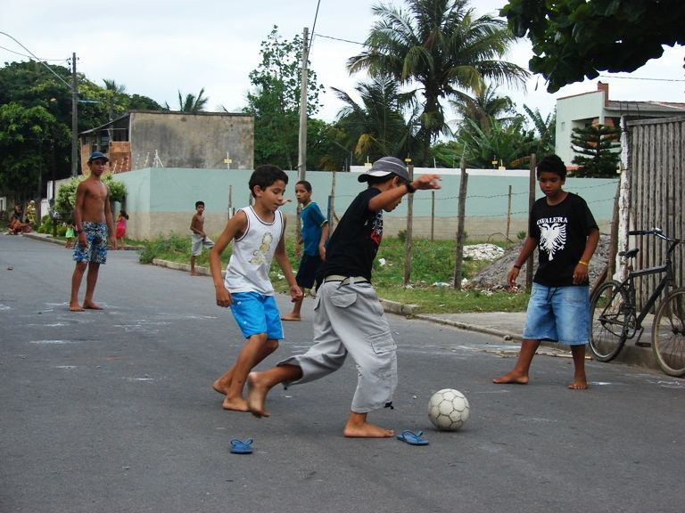 Ninos Jugando En La Calle Photo Image South America Brazil
