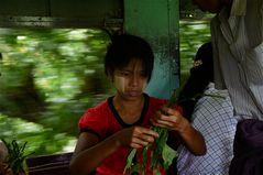 noch im zug wird das am großmarkt gekaufte gemüse verarbeitet, yangon 2011