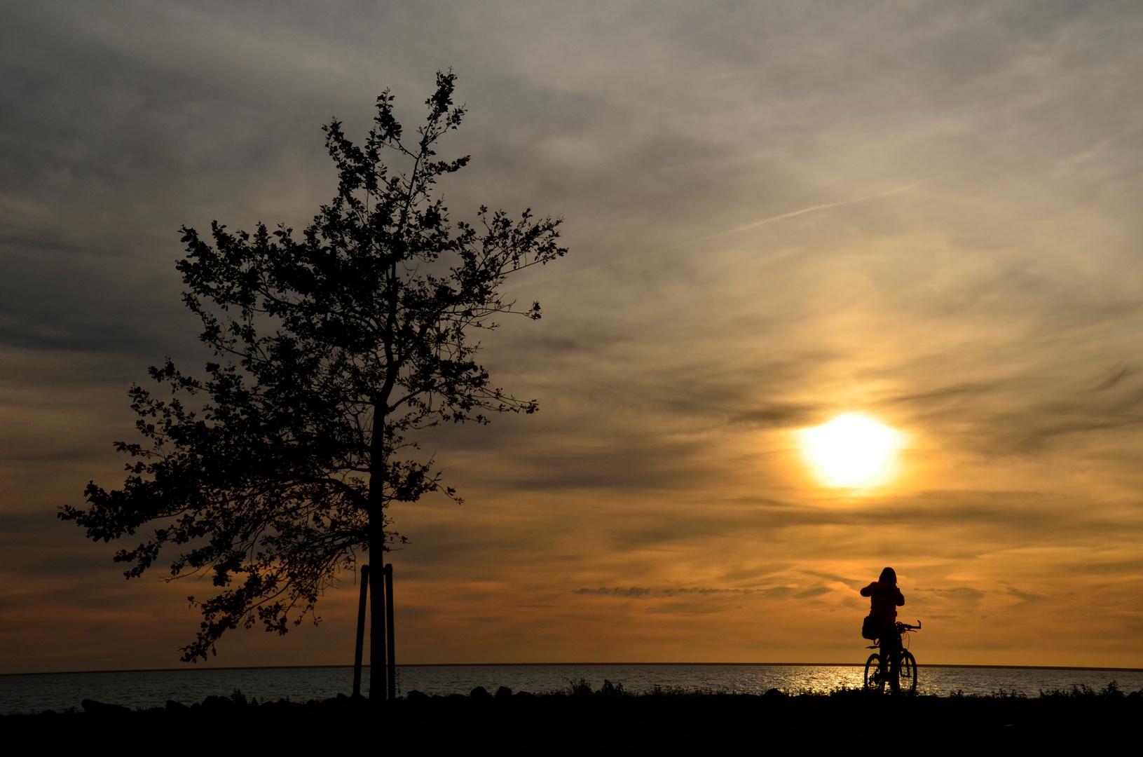 Noch schnell zum Sonnenuntergang radeln