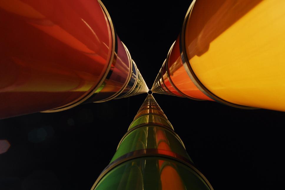 nochmal ein Bild der farbigen Röhren