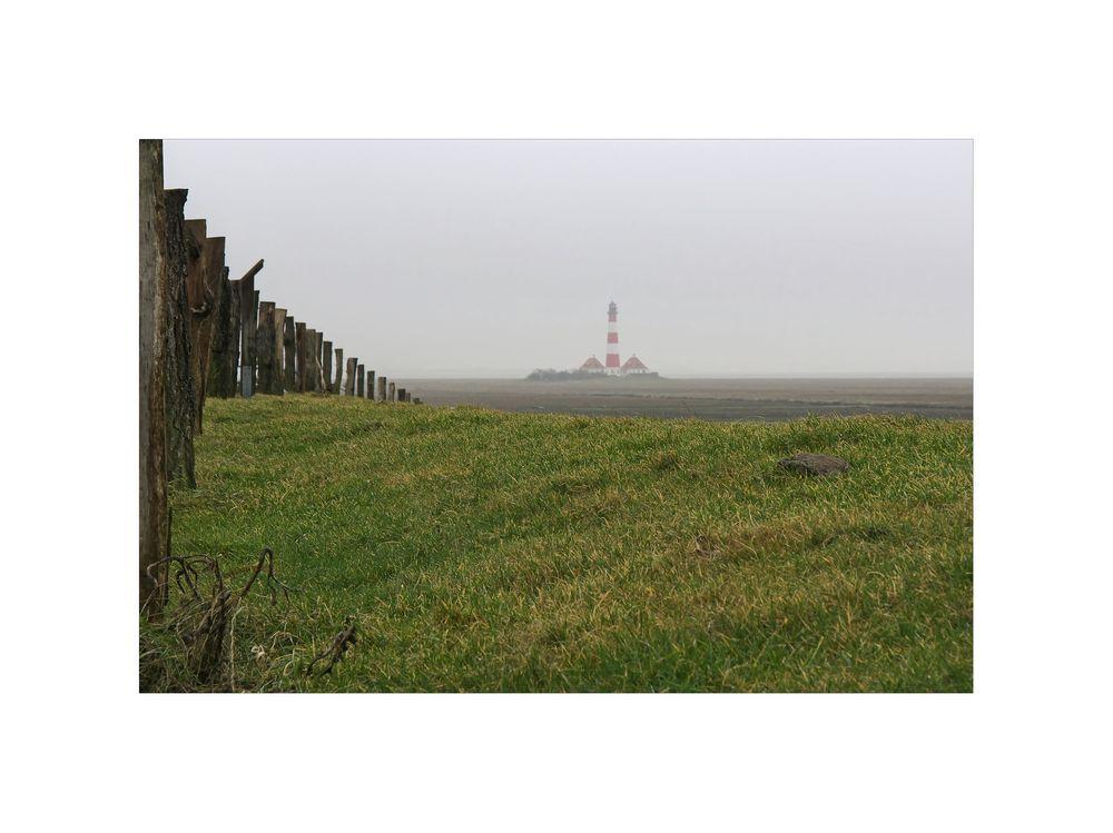 """Nordfriesische - Impressionen """" Blick, zum Leuchtturm Westerheversand..."""""""