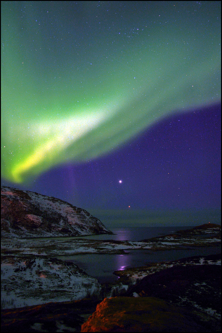 Nordlicht mit Venus und Jupiter