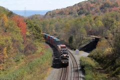 Norfolk & Southern Double Stack Container Freight Train just before Gallitzin Tunnel, PA, USA