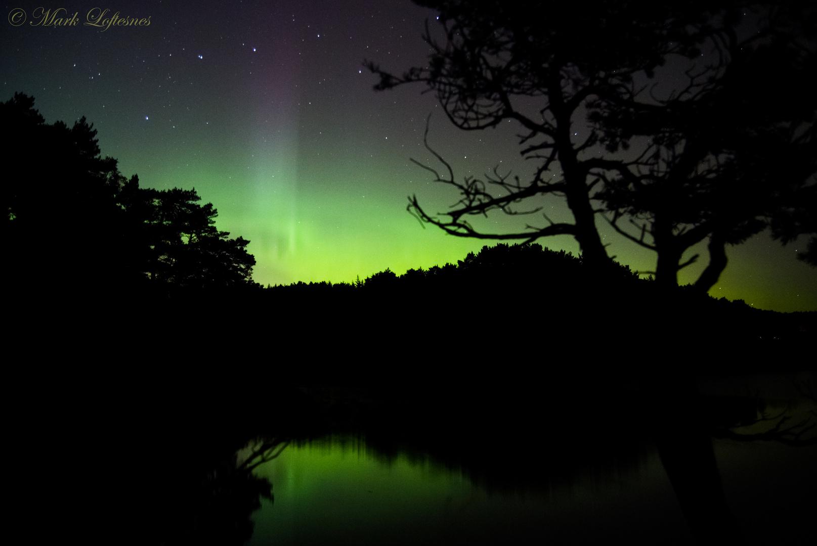Northern lights over sea