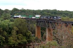 NS Double Stack Freight Train passing the Shepherdstown Railroad Bridge , WV, USA