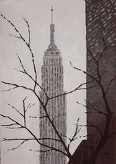 NY - Empire State - Acrylics on cardboard (July '09)