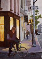 NY - On the Bike - Acrylics on cardboard (July '09)