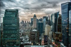NYC Skyline while Sandy is rolling on
