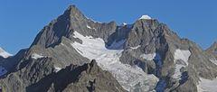 Obergabelhorn 4063m und Wellenkuppe 3903 m  mit einem der Abschiedsbilder vom Wallis...