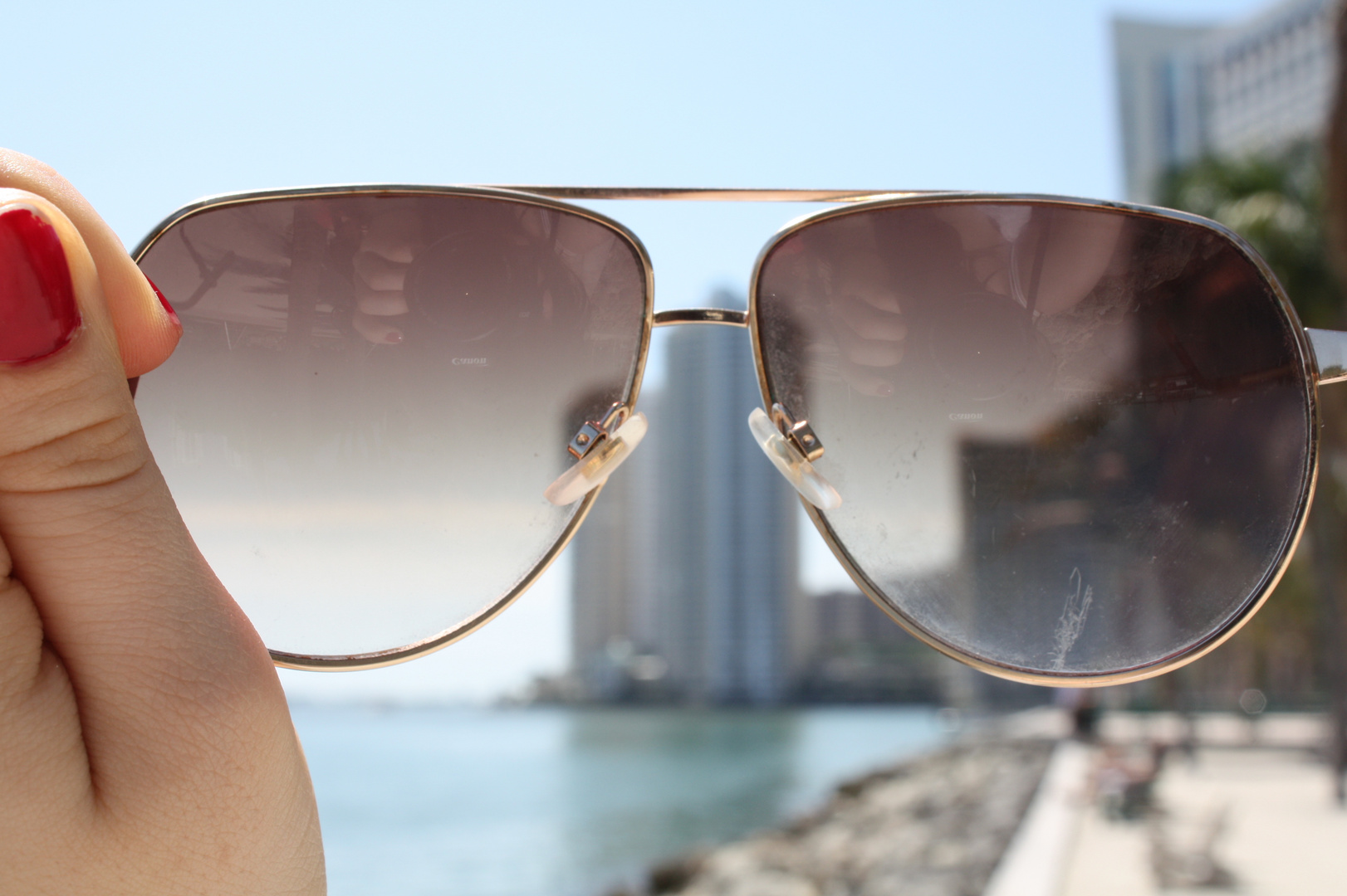 Observing Miami through sunglasses.
