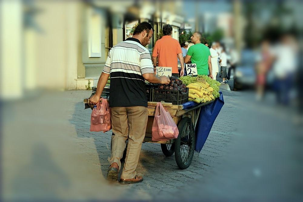 Obsthändler in Bursa, Türkei